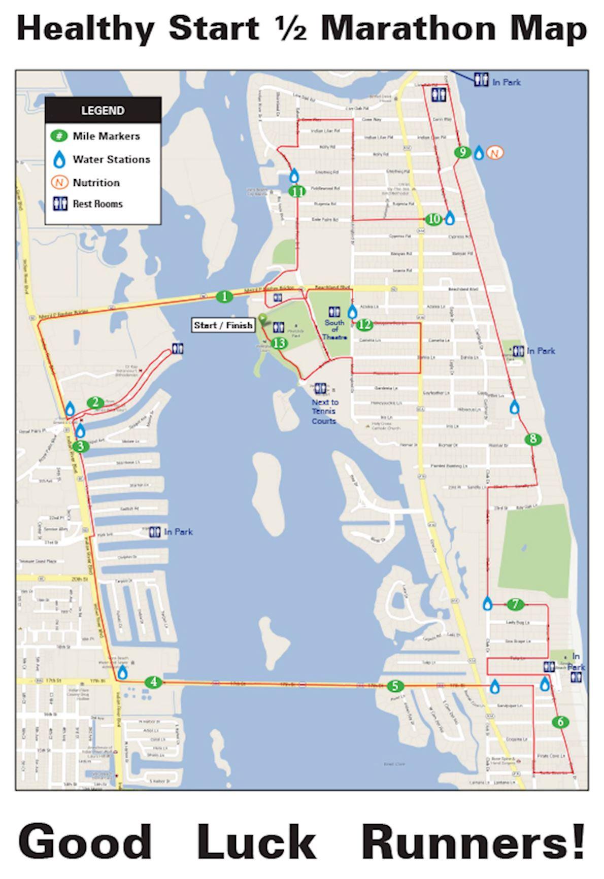 Beachside Half Marathon Mappa del percorso