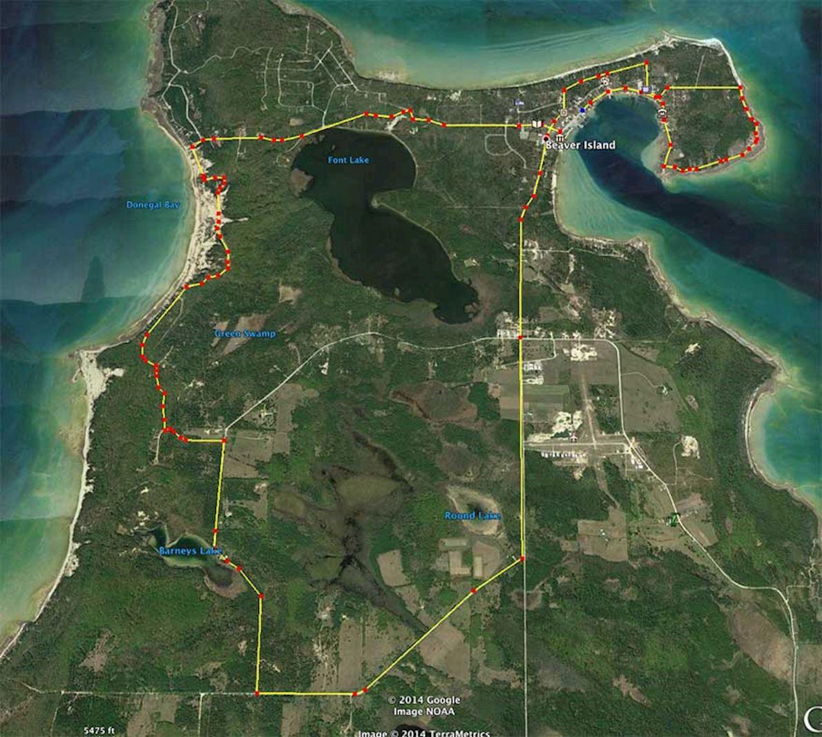Beaver Island Half Marathon & 10K & 5K MAPA DEL RECORRIDO DE
