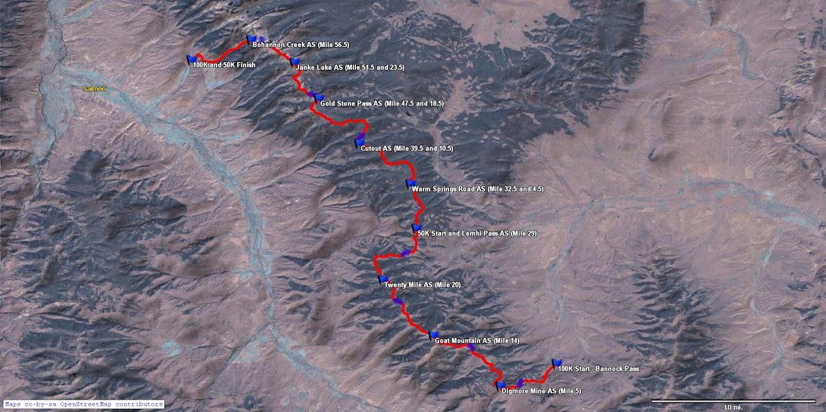 Beaverhead Endurance Runs MAPA DEL RECORRIDO DE