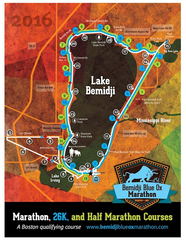Bemidji Blue Ox Marathon Route Map