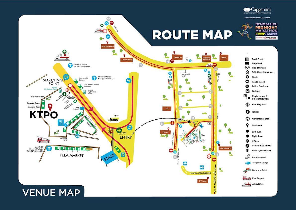 Bengaluru International Midnight Marathon 路线图