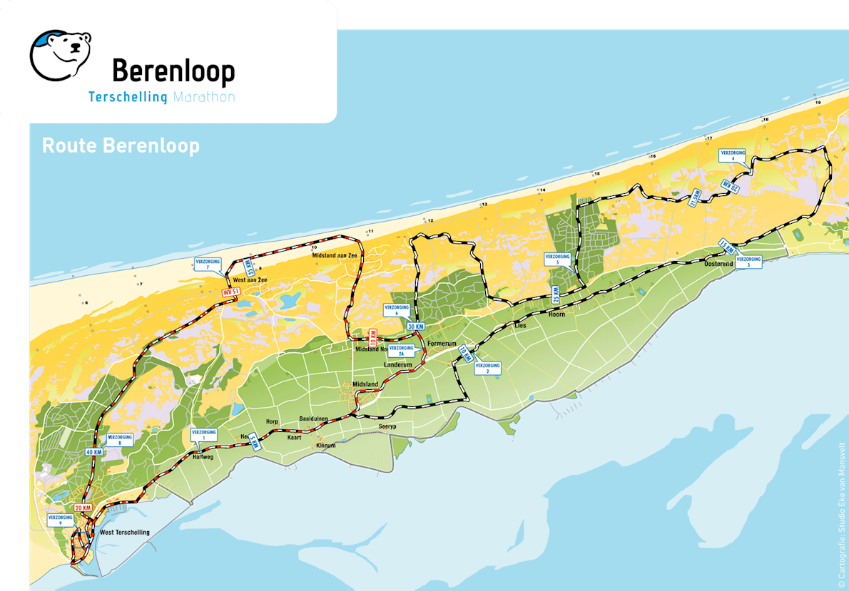 Berenloop Terschelling Marathon MAPA DEL RECORRIDO DE