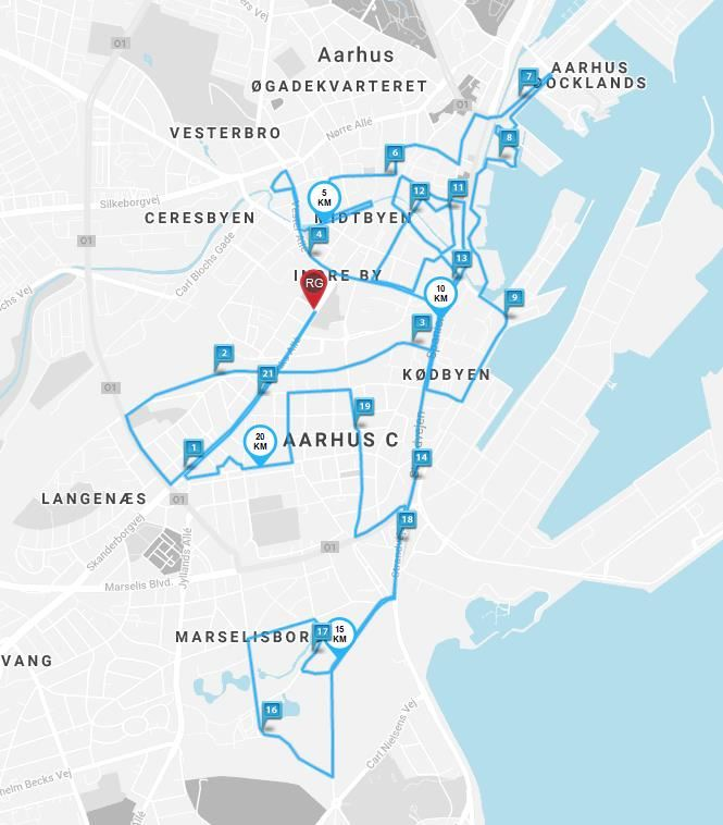 Bestseller Aarhus City Halvmarathon Route Map