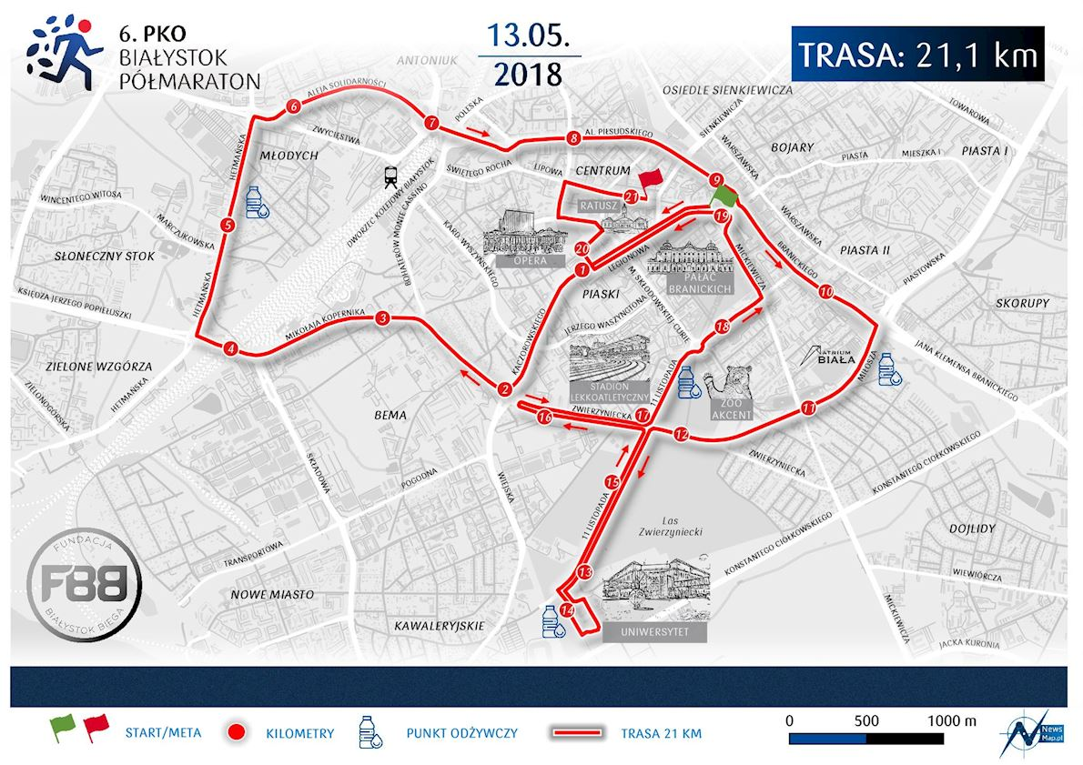 PKO Bialystok Half Marathon 路线图