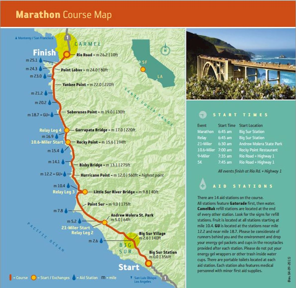 Big Sur International Marathon Routenkarte