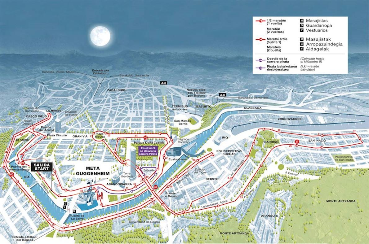 Bilbao Bizkaia Night Marathon Route Map