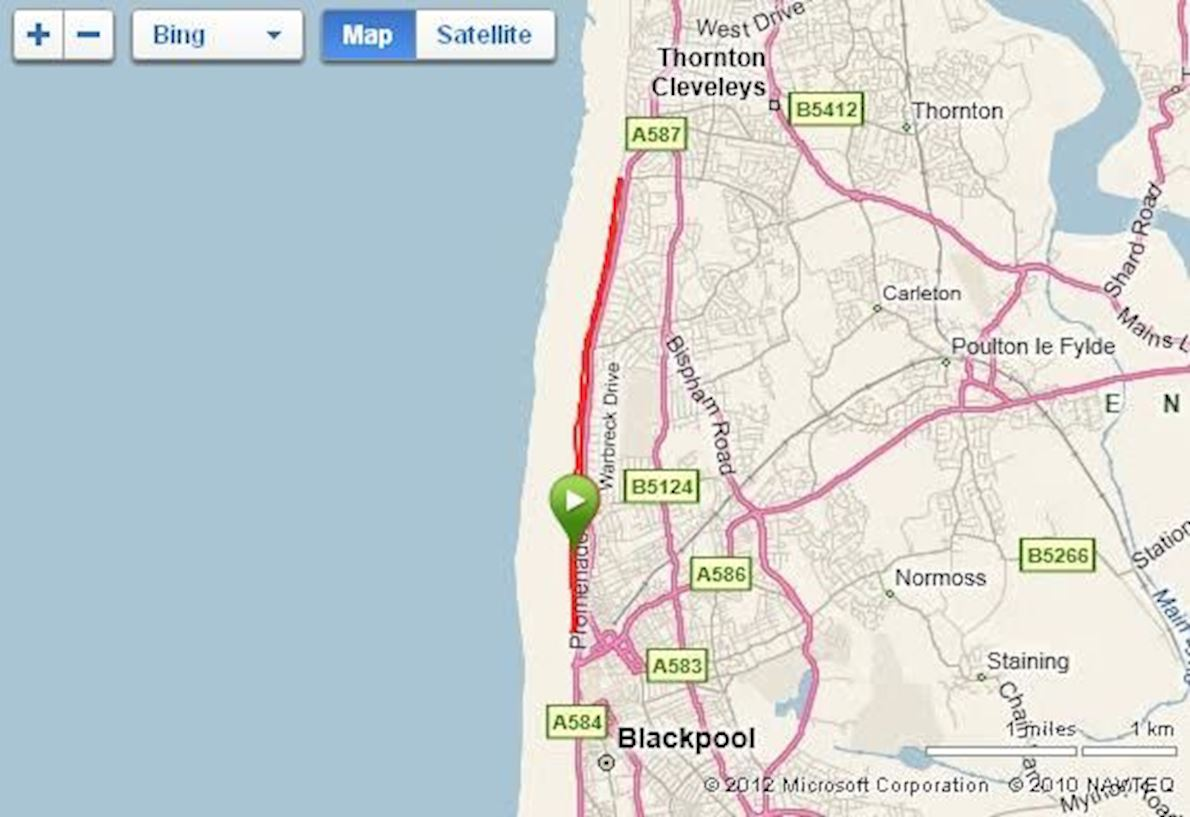 Blackpool Festival of Running Mappa del percorso