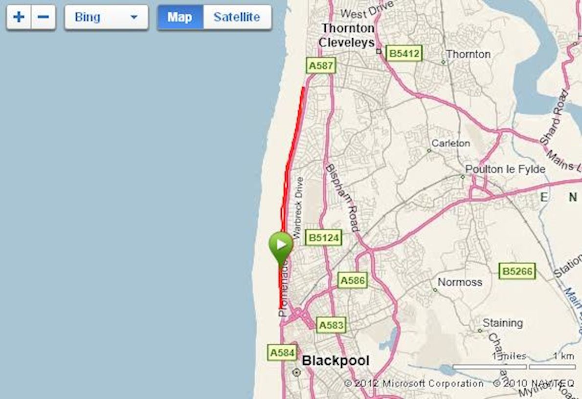 Blackpool Marathon Routenkarte