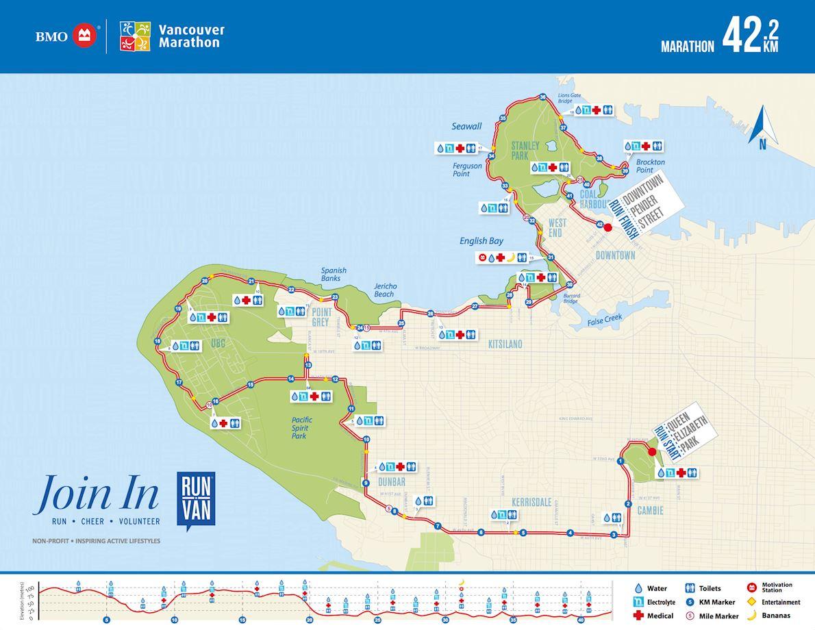 BMO Vancouver Marathon Mappa del percorso