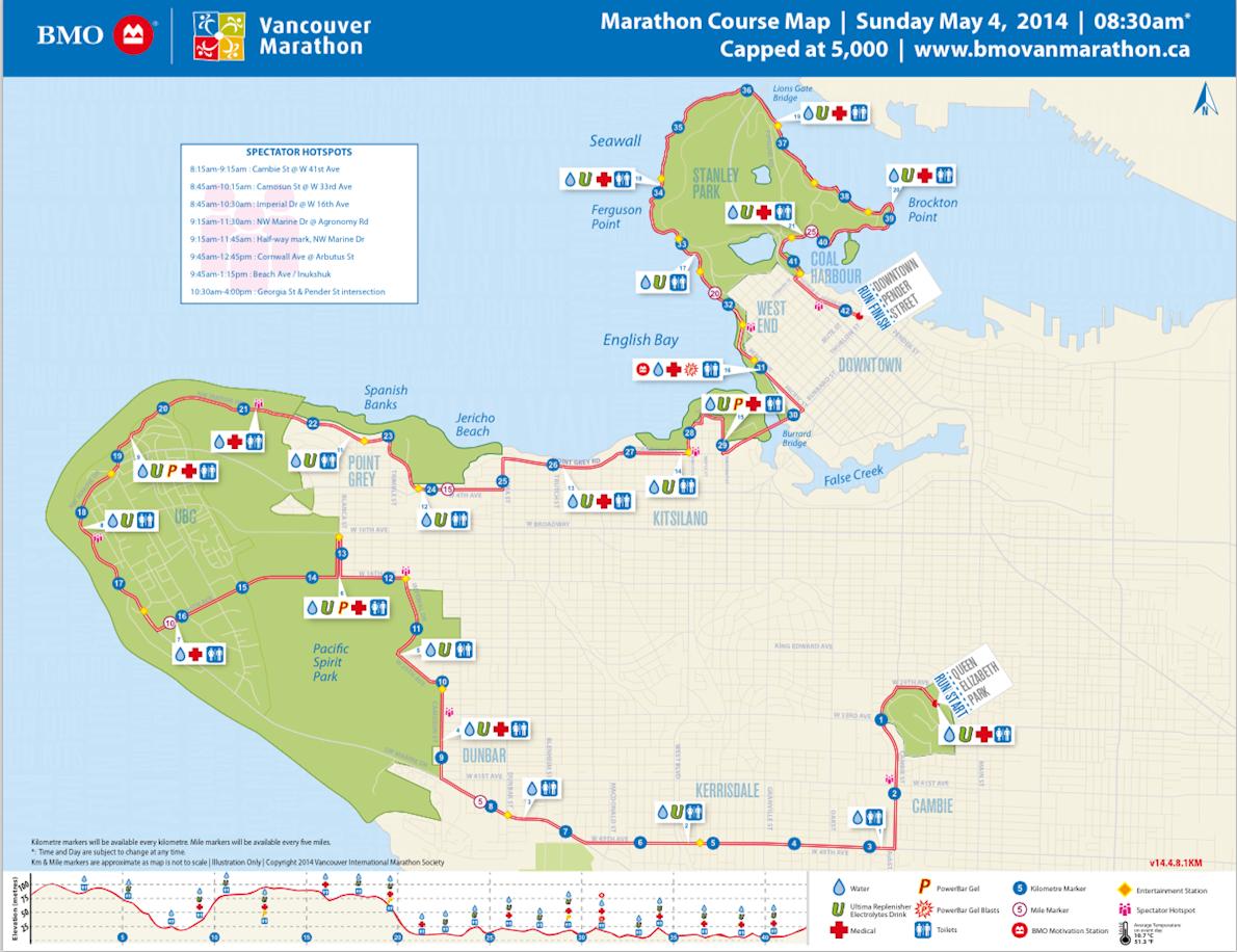 BMO Vancouver Marathon MAPA DEL RECORRIDO DE