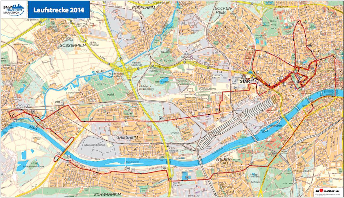 Mainova Marathon Frankfurt Routenkarte