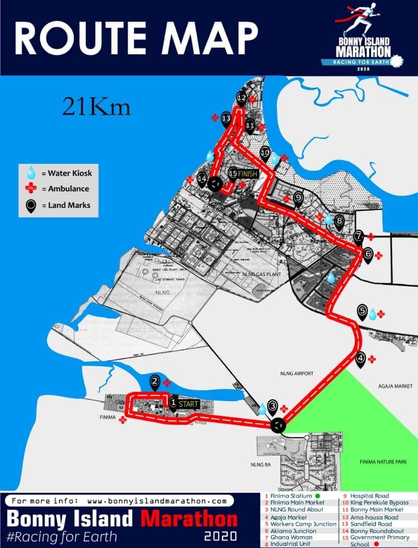Bonny Island Marathon  Route Map