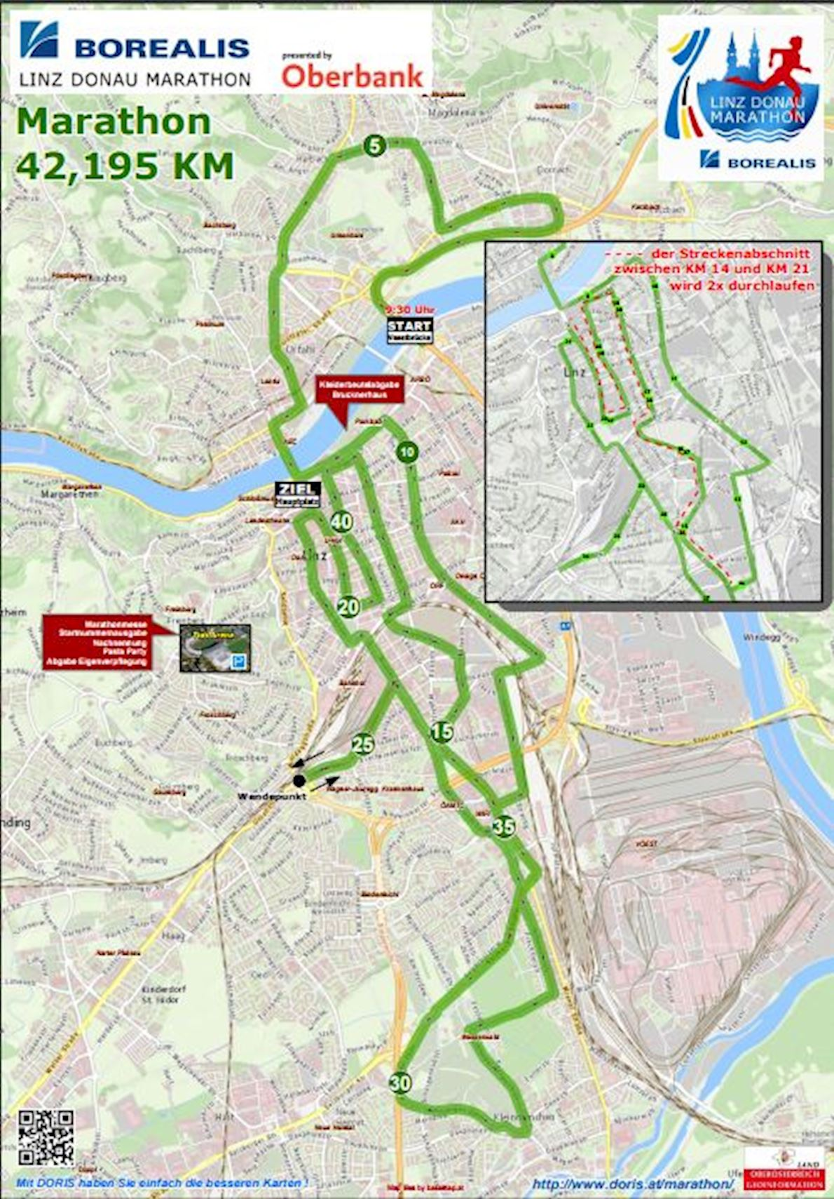 Oberbank Linz Donau Marathon Mappa del percorso