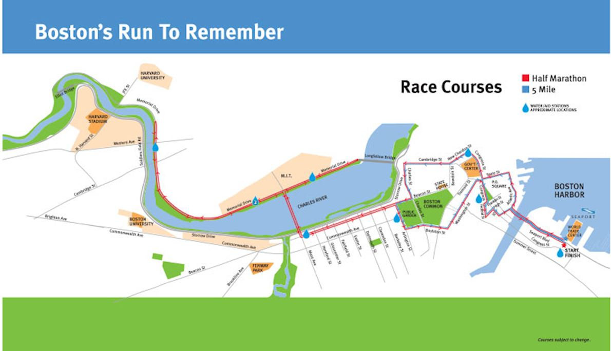 Boston's Run To Remember Mappa del percorso