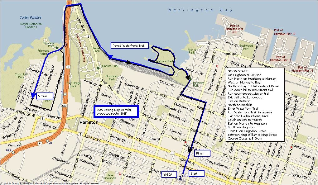 Boxing Day 10 & 4 mile runs Route Map