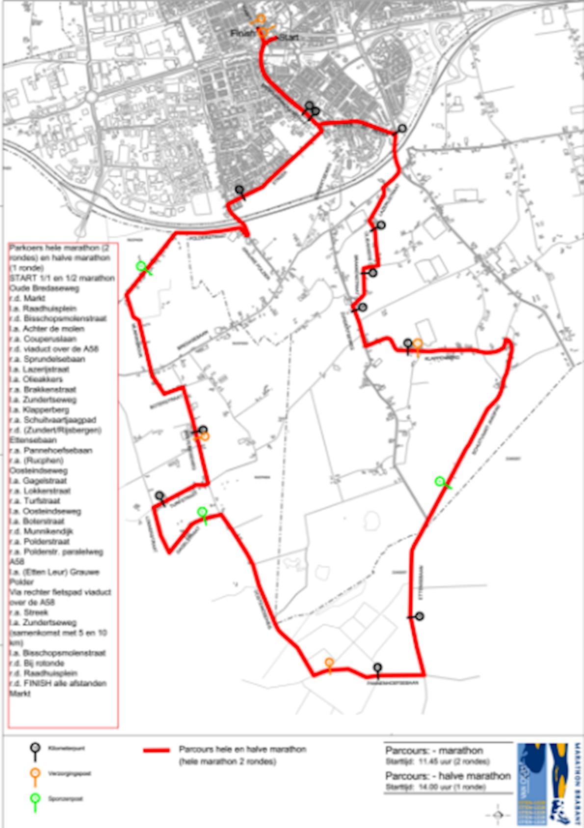 Van Oers Marathon Brabant 路线图
