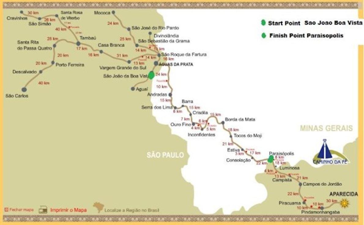 Brazil 135 Ultramarathon Mappa del percorso