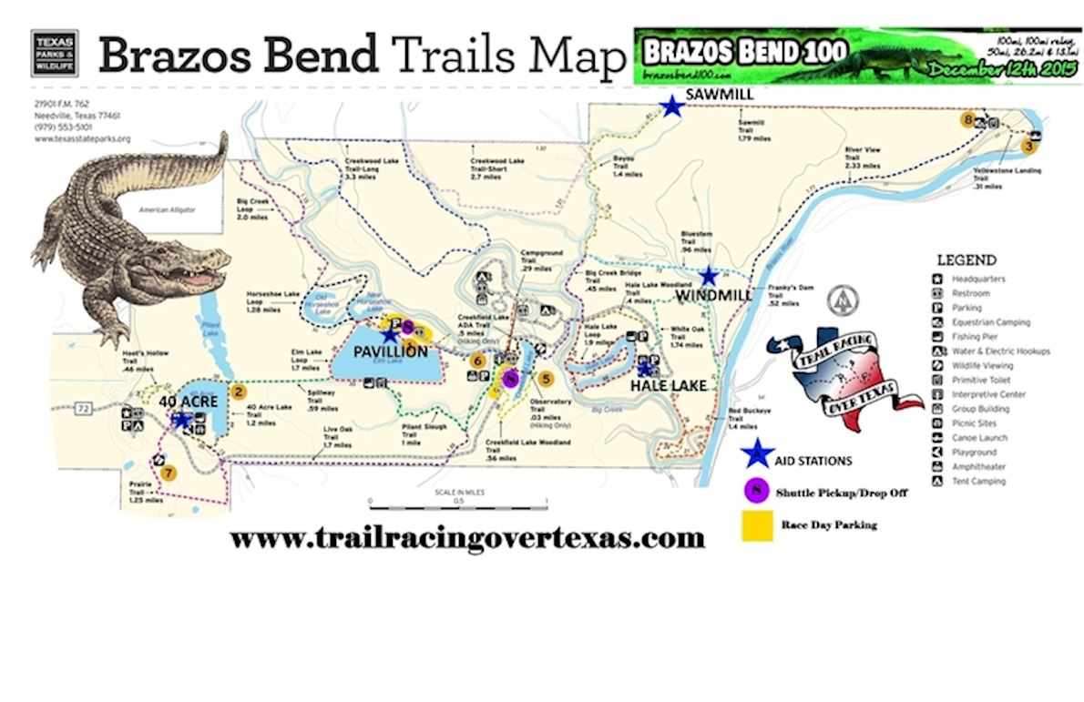 Brazos Bend 100 Route Map