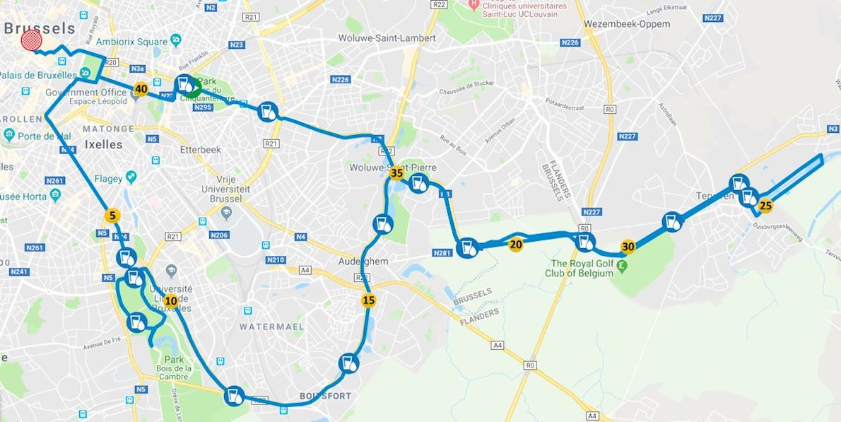 Brussels Marathon Route Map