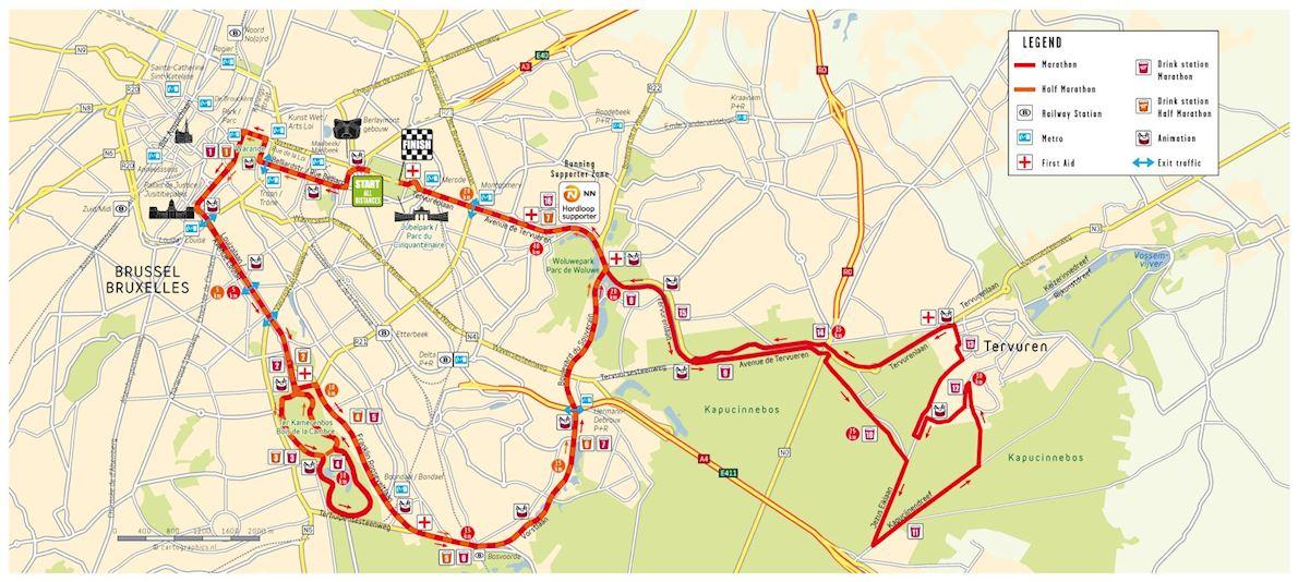 Brussels Marathon Routenkarte