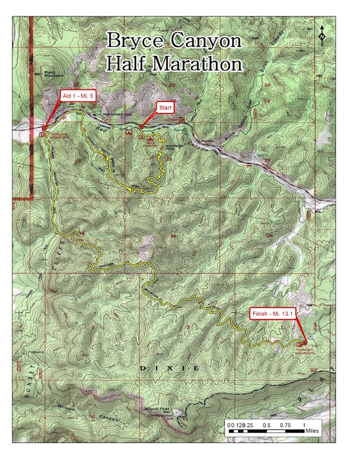 Bryce Canyon Half Marathon Route Map