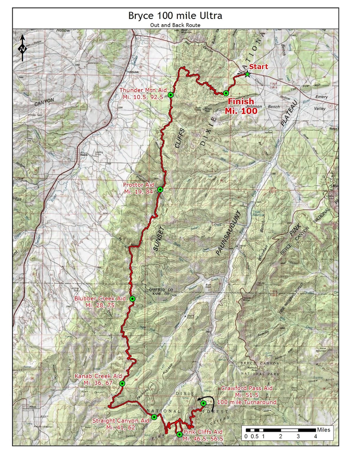 Bryce Canyon Ultra Marathons Route Map