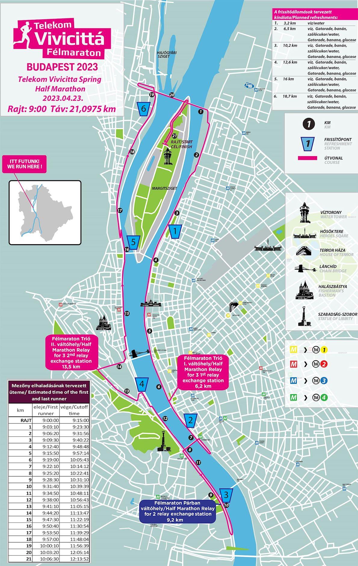 Telekom Vivicitta Budapest Spring Half Marathon Route Map