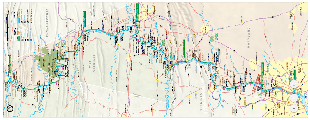 C&O Canal 100 Route Map