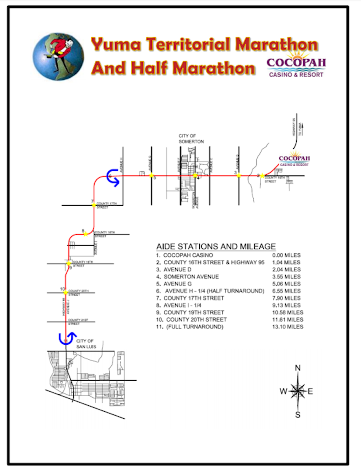 Yuma Territorial Marathon & Half Marathon 路线图