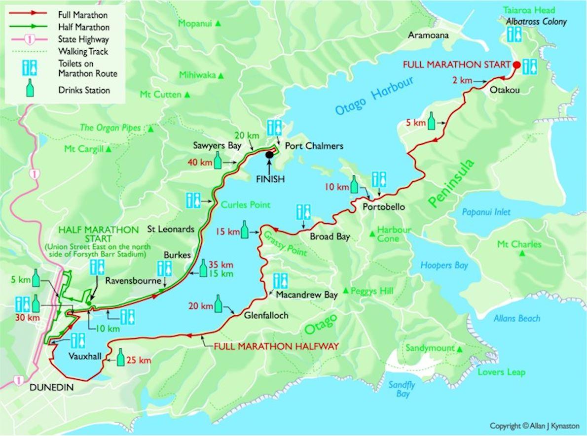 Dunedin Marathon 路线图