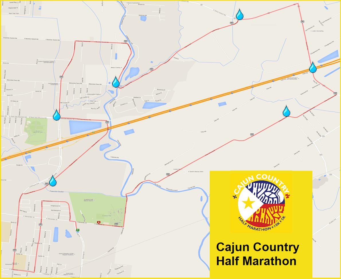 Cajun Country Run Mappa del percorso