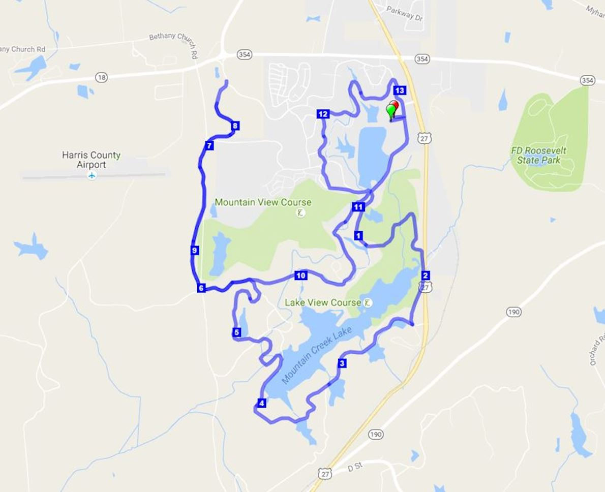 Callaway Gardens Marathon/Half Marathon/5k Routenkarte