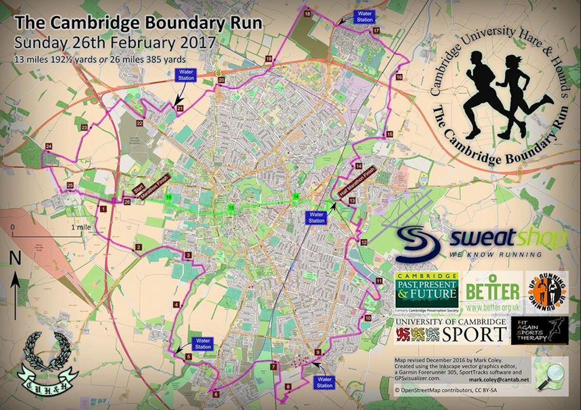 Cambridge Boundary Run Routenkarte