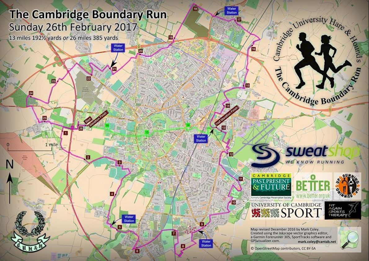 Cambridge Boundary Run Mappa del percorso
