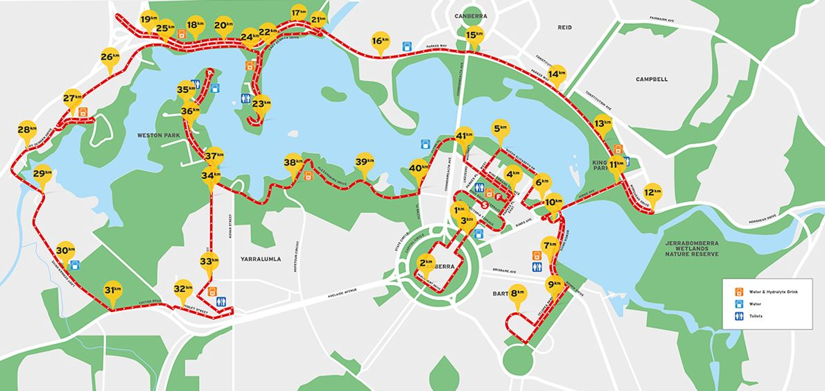 Australian Running Festival Canberra Marathon MAPA DEL RECORRIDO DE