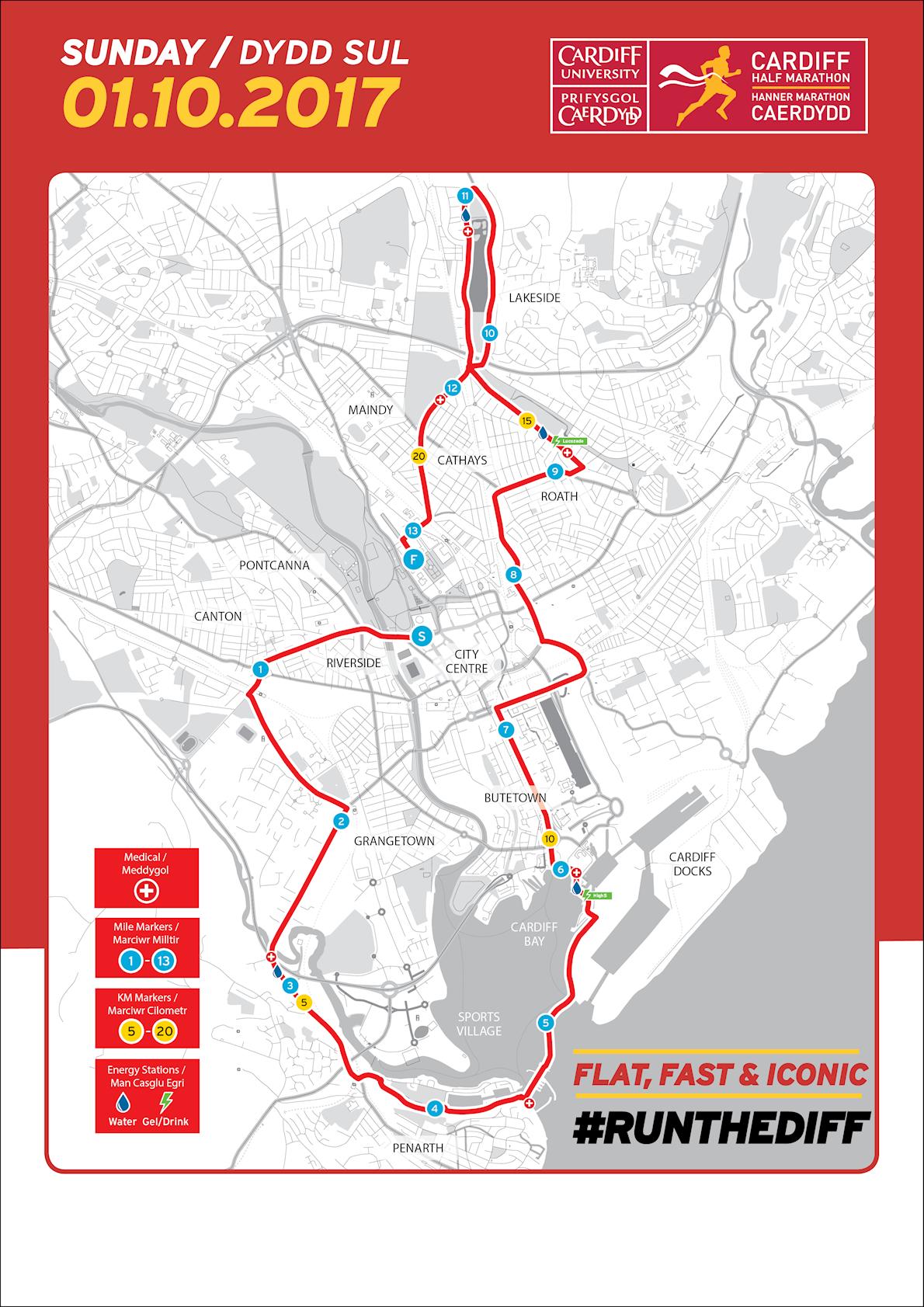 Cardiff Half Marathon Route Map