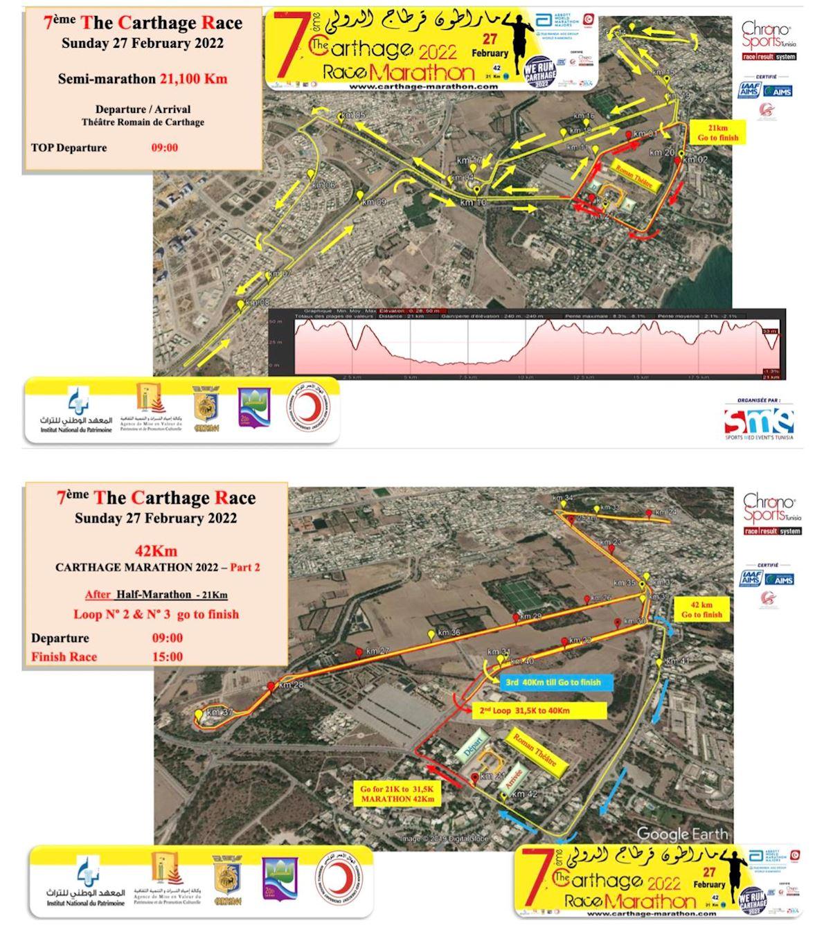 6th Carthage Race Marathon 2020 AIMS-IAAF  Route Map