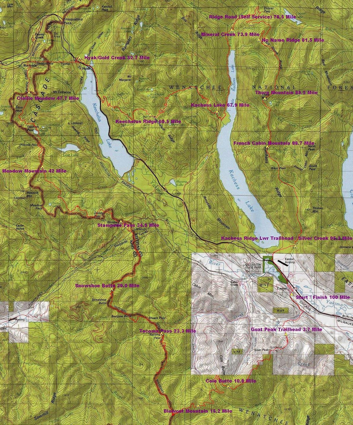 Cascade Crest 100 Mile Endurance Run Routenkarte