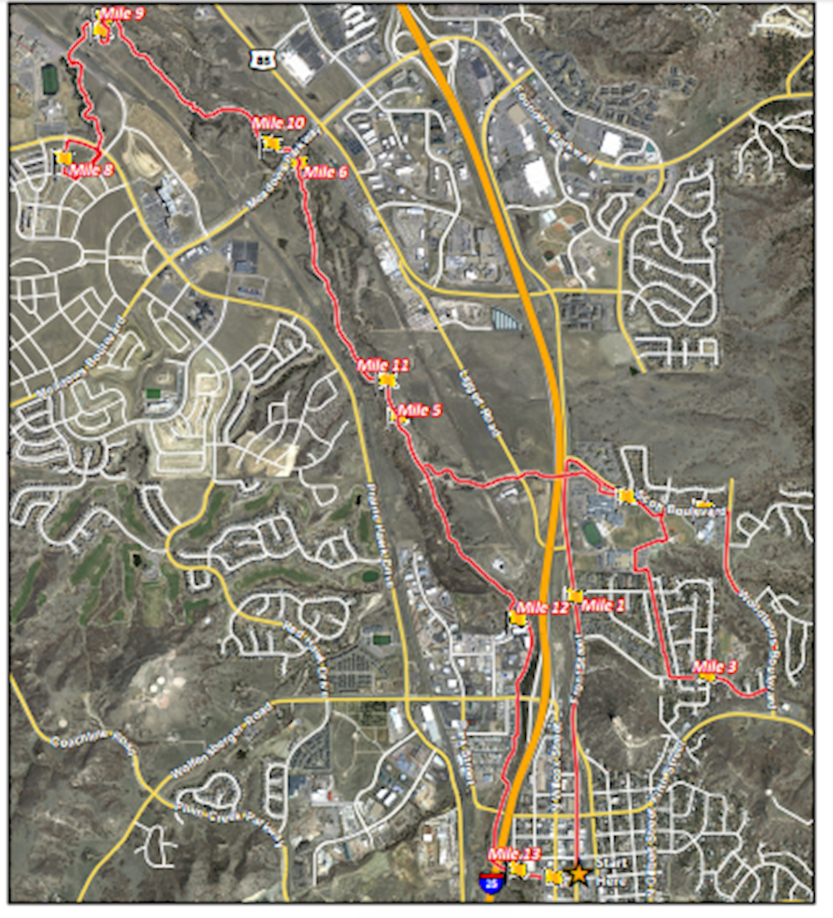 Castle Rock Half Marathon Mappa del percorso