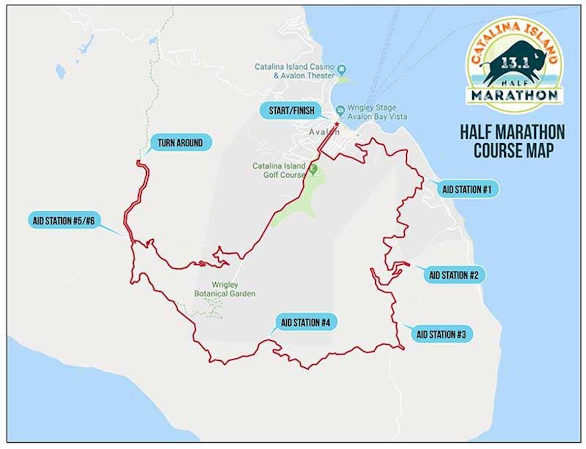 Catalina Island Half Marathon Mappa del percorso