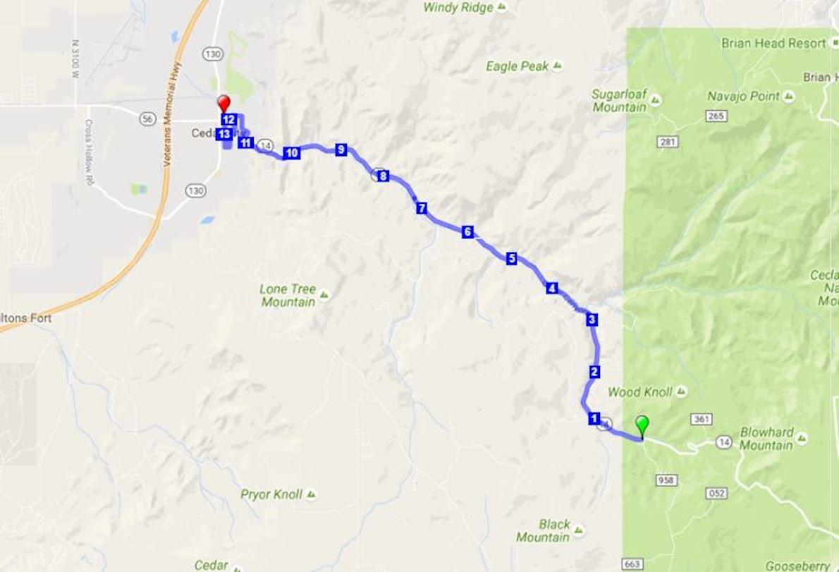 Cedar City Half Marathon 路线图