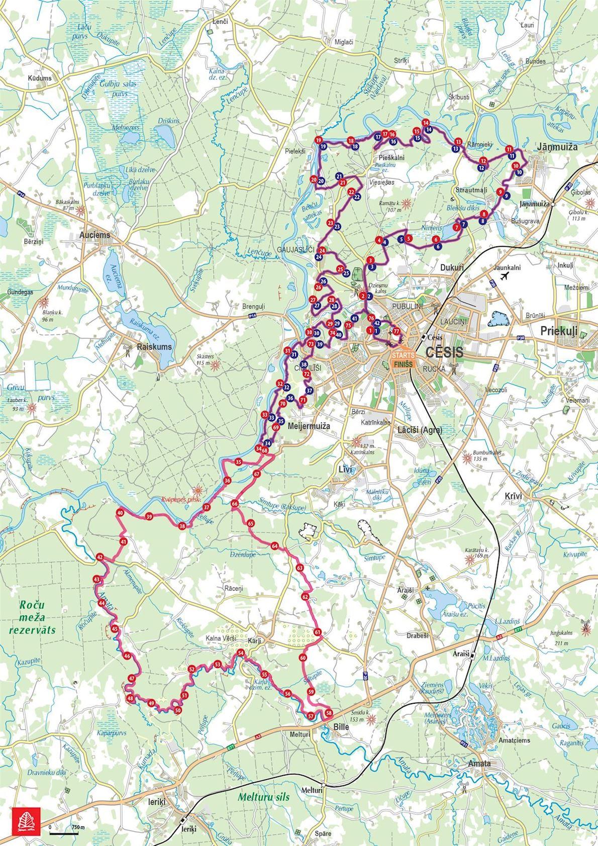 Cēsis ECO Trail 路线图