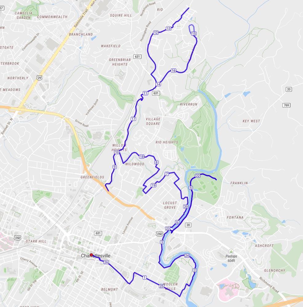 Charlottesville Marathon 路线图