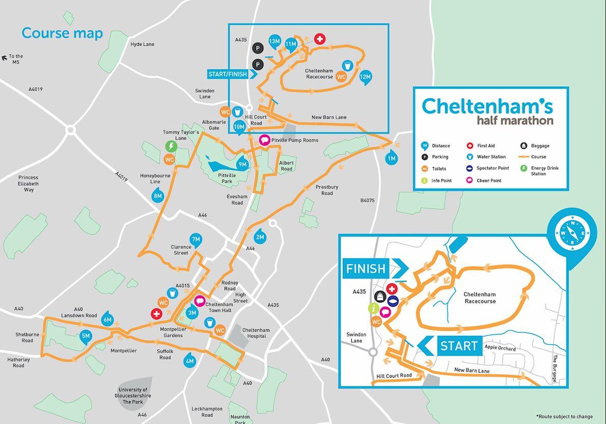 Cheltenham 10KM and Half Marathon  MAPA DEL RECORRIDO DE