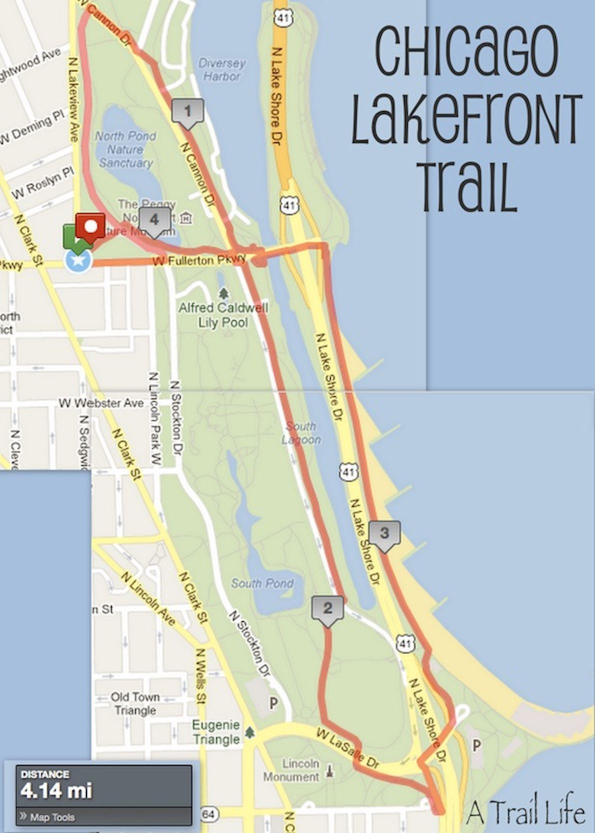 Chicago Lakefront 50K George Cheung Memorial Race Route Map
