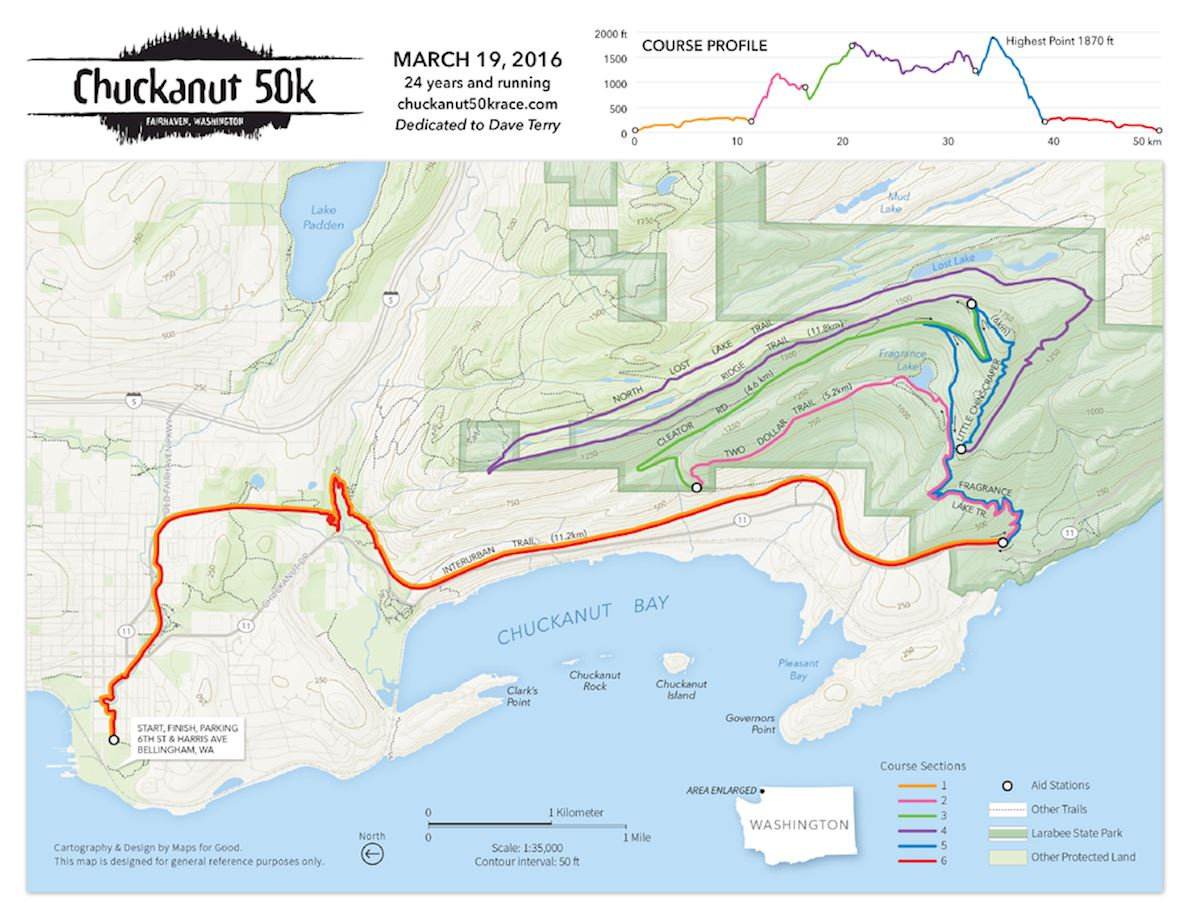 Chuckanut 50K Route Map