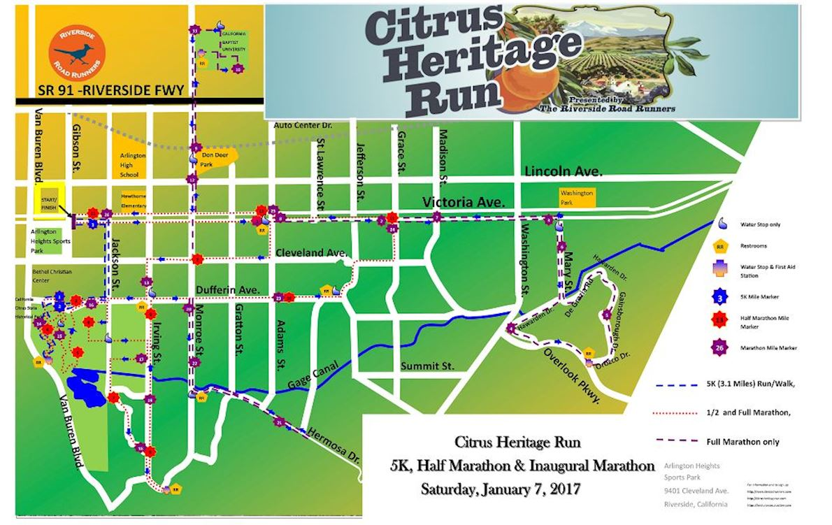Citrus Heritage Run Route Map