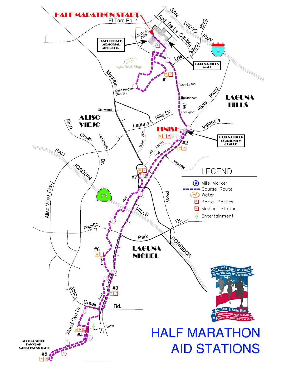 City of Laguna Hills Memorial Half Marathon Route Map