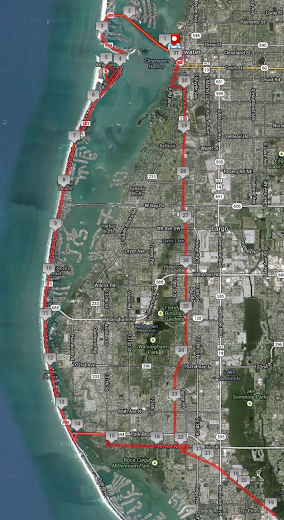 Clearwater Distance Classic Route Map