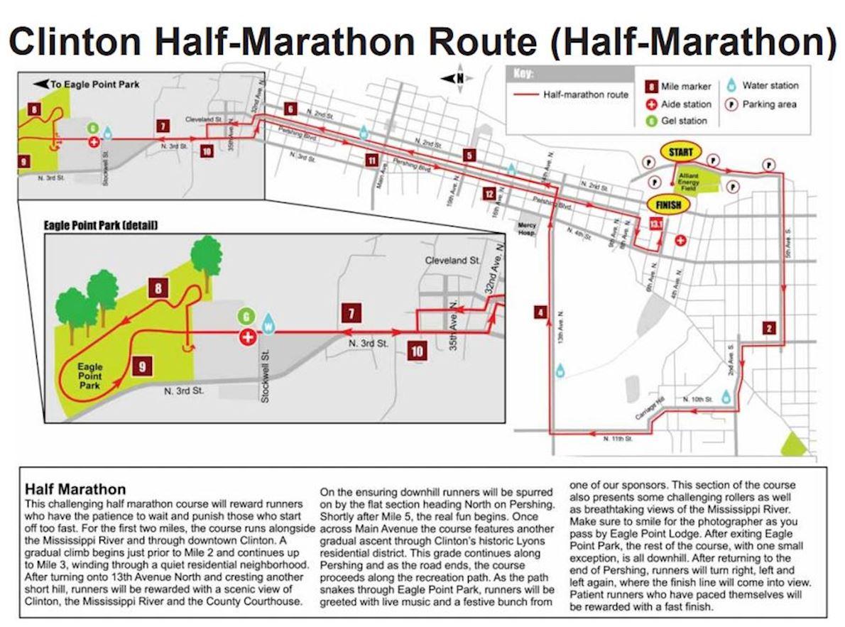 Clinton Half Marathon MAPA DEL RECORRIDO DE